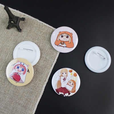 12 Types Himouto! Umaru-chan Figure Model Brooch Pins Broches Round Tinplate Badge For Bag Lapel Fans Gift Children Toy Jewelry