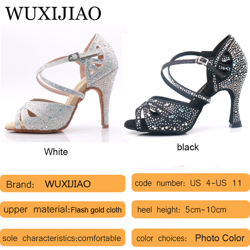 Image 3 - WUXIJIAO hot Black and white flash cloth Women's Latin dance shoes Ballroom dance shoes Party Square dance shoes soft heel 7.5cm-in Dance shoes from Sports & Entertainment