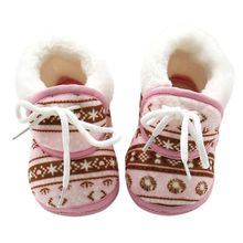 Fashion Children Winter Warmer Vintage Pattern Shoes Fleece Toddler Kids Boy Girls Soft Cotton Lace Up Kids Shoes 6-12M