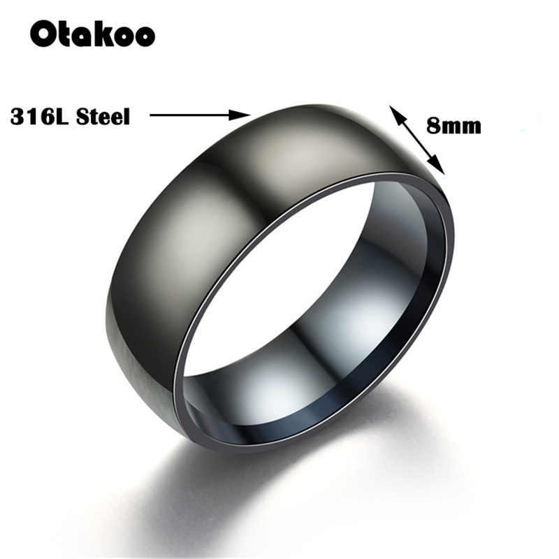 Otakoo 2018 ใหม่สีดำแหวนผู้ชาย 100% ไทเทเนียมคาร์ไบด์ผู้ชายเครื่องประดับงานแต่งงานคลาสสิกแฟนของขวัญ
