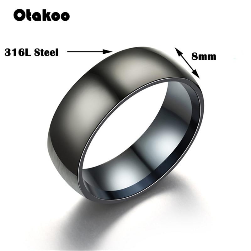 Otakoo 2018 New Black Men Ring 100% Titanium Carbide Men's Jewelry Wedding Bands Classic Boyfriend Gift 4