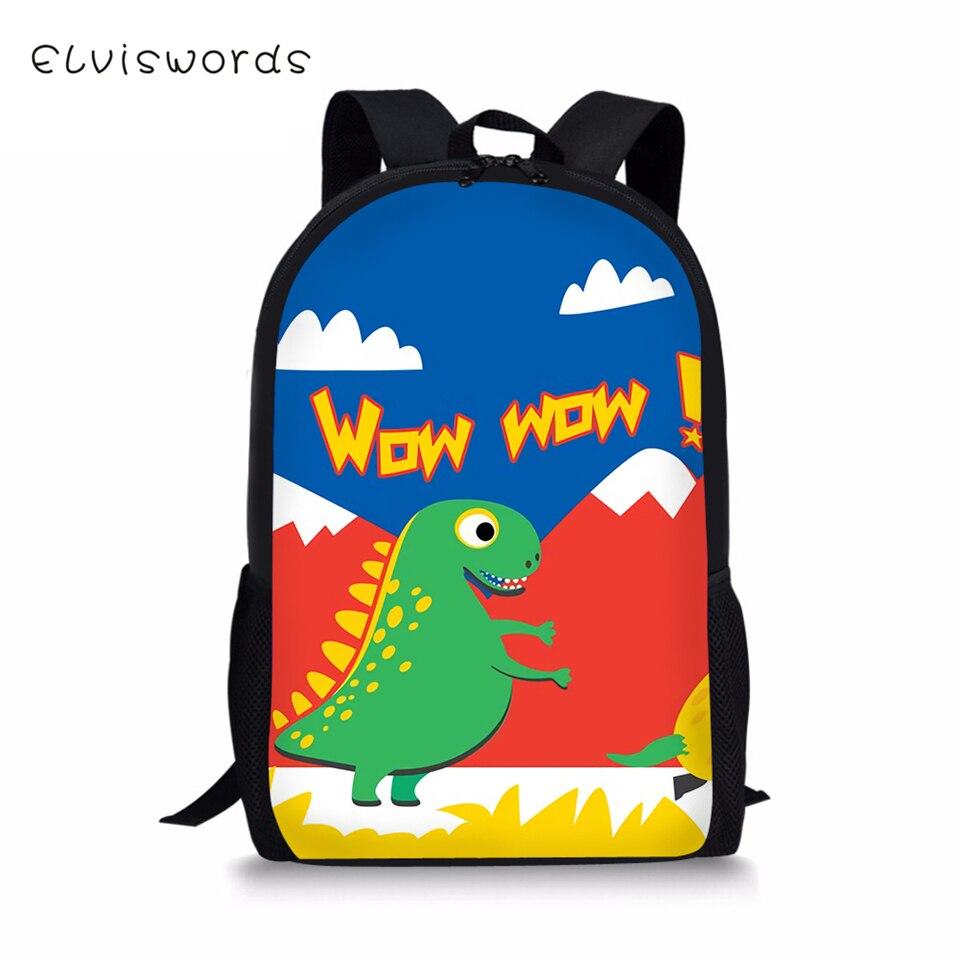 ELVISWORDS Fashion Childrens Backpack Cute Dinosaur Prints Pattern Travel Laptop Kawaii Animal Kids School