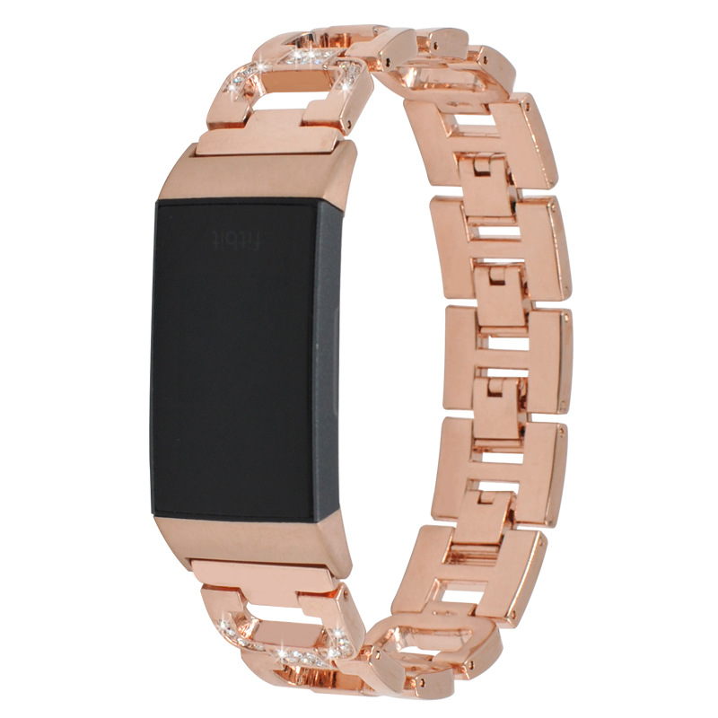 D-shaped Diamond Stainless Steel Metal Strap for Fitbit Charge3 Smart