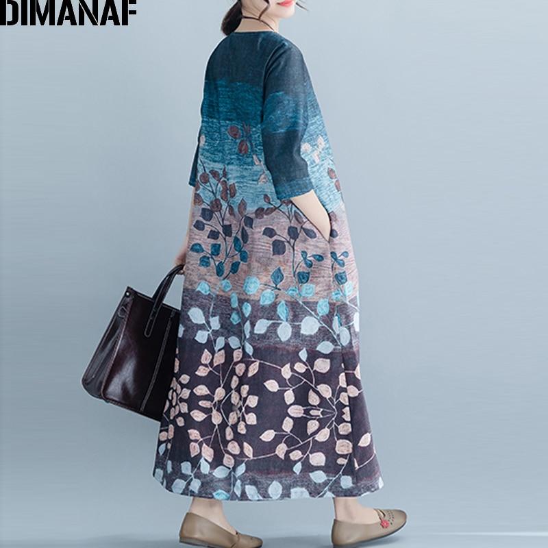 cf058c0b8 DIMANAF Plus Size Women Long Dress Vintage Lady Vestidos Loose Casual Print Dress  Female Elegant Sundress 2019 Spring Summer New-in Dresses from Women's ...
