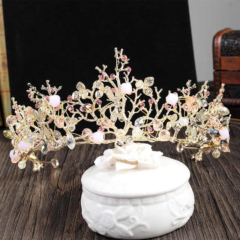 TREAZY الزفاف الزهور تيارا الوردي كريستال تاج الذهب اللون الباروك العروس الأميرة غطاء الرأس الزفاف إكسسوارات الشعر