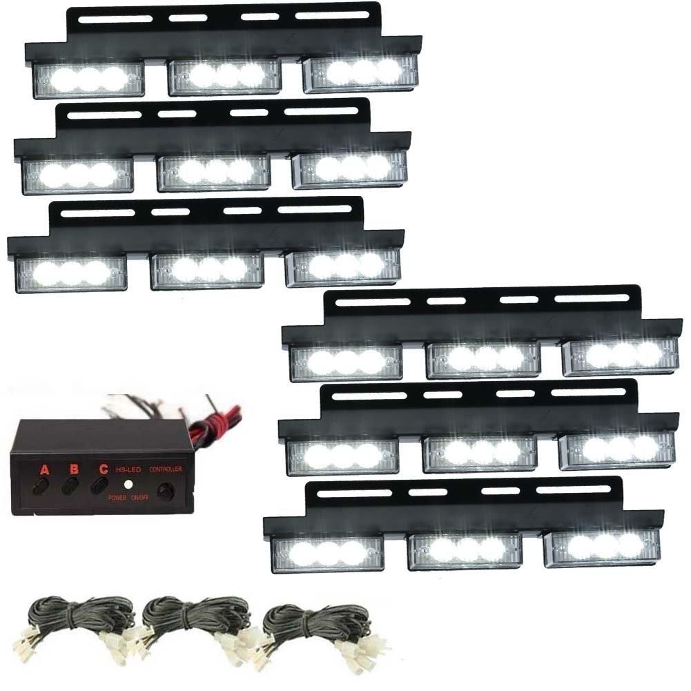 54 LED Emergencia Luces Estroboscopicas Vehiculo Flash de coches Luces de Advertencia para la Parrilla / Cubierta Blanco 2 h4 hb2 hi lo led faro bombillas alquiler de luces led 160w led lampara con la viruta zes chip para el coche vehiculo no canbus