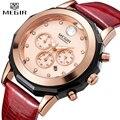 Женские кварцевые часы MEGIR  Кварцевые водонепроницаемые наручные часы с кожаным хронографом  роскошный подарок для жены  2019
