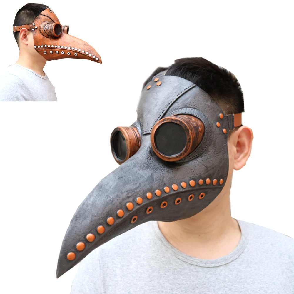 Steampunk Plague Doctor Latex Mask Brown Black Long Nose Bird Crow Beak Mask Halloween Party Costume Props Punk Gothic Masks