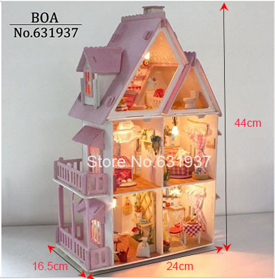Hot Sunshine Alice Pink DIY Wooden Miniatura Doll House Furniture Handmade 3D Miniature Dollhouse Toys Gits English instructions large size diy wooden miniatura doll house with light music furniture handmade 3d miniature dollhouse toys wedding gits