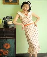Vintage Europe and America lady Wave point fishtail pencil sleeveless dress Hepburn Small Fresh Literary Range dress