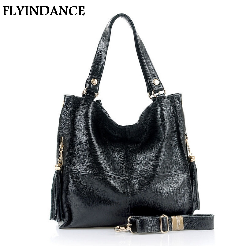 FLYINDANCE Hot genuine leather women's handbag Cowhide one shoulder bag women messenger black and brown color