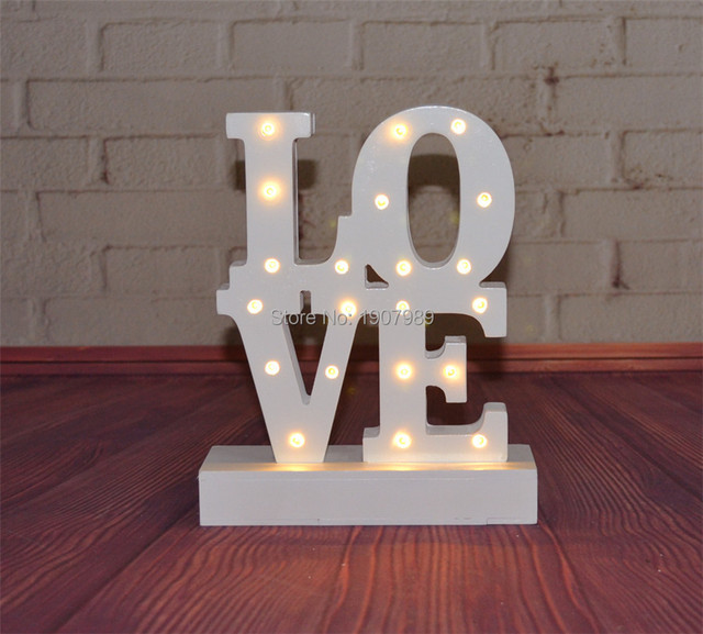 Blanco cálido AMOR de madera LED Cartel Marquesina Cubierta Día de san valentín de LUZ de noche mesa Deración