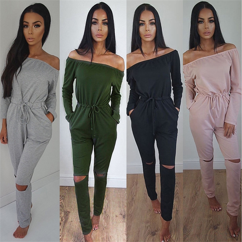 Autumn Women Long Sleeve Sexy Slash Neck Strapless Off Shoulder Casual Solid   Jumpsuit   Lace Up Drawstring Pocket Hole Slim Romper