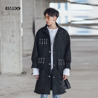 Pins Back Patchwork Men Long Trench Coat Spring Autumn Male High Street Fashion Hip Hop Punk