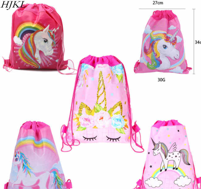 HJKL Unicorn Drawstring bag for Girls Travel Storage Package Cartoon School Backpacks Children Birthday Party Favors skull bag