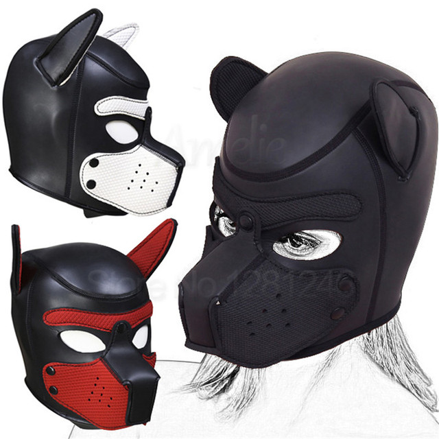 Мягкий латексный резиновый щенок играть собака косплей сексуальная Реалистичная Полная Голова маска бандаж Фетиш Закрытая Собачья голова жгут для женщин