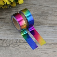 2PCS/lot Decorative Rainbow Solid Golden Foil Washi Tape Paper for Scrapbook Bullet journal Adhesive 15mmx10m School Supply