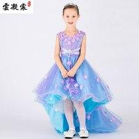 Ücretsiz gemi çocuk kız açık mavi mor yaprakları dans elbise/parti/olay elbise/sahne performansı cosplay elbise