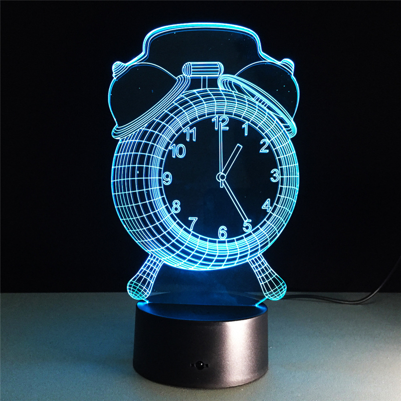 Acrylic 7 Color Alarm Clock 3D Flower LED nightlight of bedroom lamp livingroom lights desk table Decor Night Light Kid Gift three dimensional 3d visual reading lights wood acrylic clear small lamp button type led stereo night light folding book lights