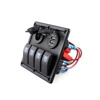 Universele Waterdichte Auto ATV Marine Boot 4 Gang Circuit Blauwe LED Rocker Panel Switch Auto Accessoires Groothandel