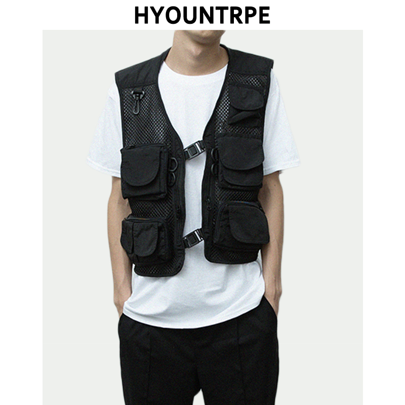 Hip Hop Breathable Mesh Sleeveless Vests Mens Cargo Waistcoat With Pockets Military Jacket Streetwear Tactical Vest Sweatshirts