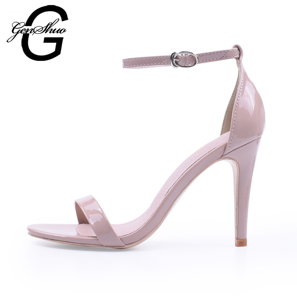 цена на Women Sandals Summer Shoes Sexy Black Stiletto High Heels Leather Ankle Strappy Sandals Female High Heels Sandals Open Toe