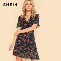 SHEIN 2018 Summer Chiffon Ruffle Hem Sexy Party Dress Multicolor Flounce Sleeve V Neck Dress Flower