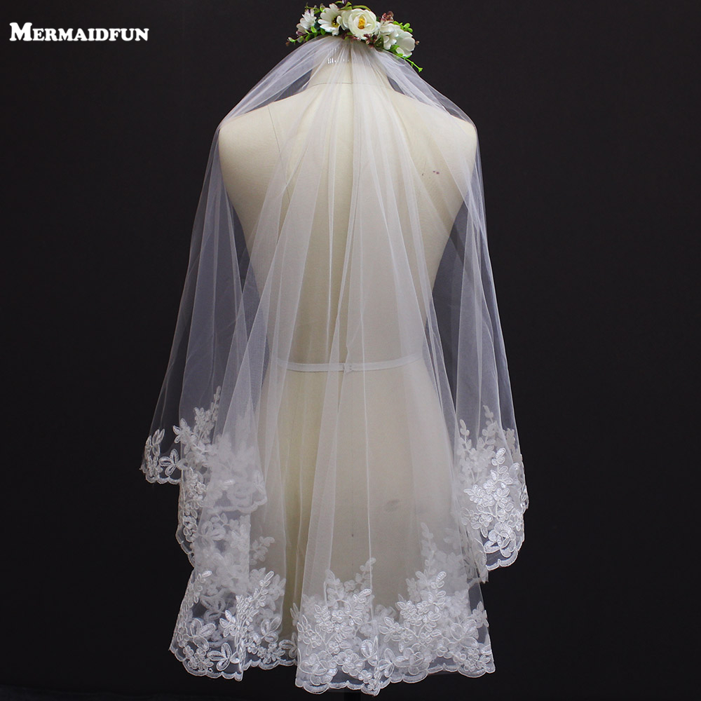 New Lace Edge One Layer Short Wedding Veil With Comb Elegant White Ivory Bridal Veil Velo Novia Bride Accessories