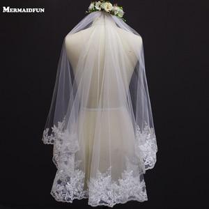 Image 1 - New Lace Edge One Layer Short Wedding Veil With Comb Elegant White Ivory Bridal Veil Velo Novia Bride Accessories