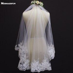 Image 1 - Voile de mariage court, bord en dentelle, une couche, avec peigne, élégant, accessoire de mariée blanc ivoire, nouveau