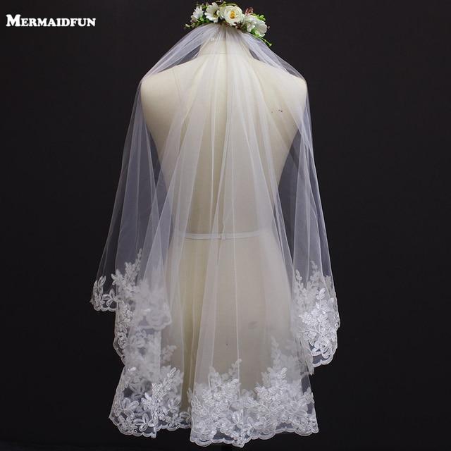 Voile de mariage court, bord en dentelle, une couche, avec peigne, élégant, accessoire de mariée blanc ivoire, nouveau