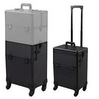 98606be40 3 In 1 4 Wheel Professional Aluminum Rolling Makeup Cosmetic Train Case  Lockable Wheeled Box Durable