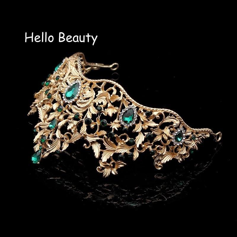Μπαρόκ Vintage Πράσινη Rhinestone Princess Tiara και - Κοσμήματα μόδας - Φωτογραφία 4