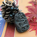 New Fashion llaveros Chinese Dragon carved wood BlackWood Carving Keychain lucky Pendant Statue Present Car Keyring