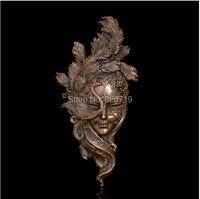 ATLIE Классический Бронзовый Рельеф Стены Статуя маска павлина холле отеля бронза Скульптура фигурка современных металла, художественное оф