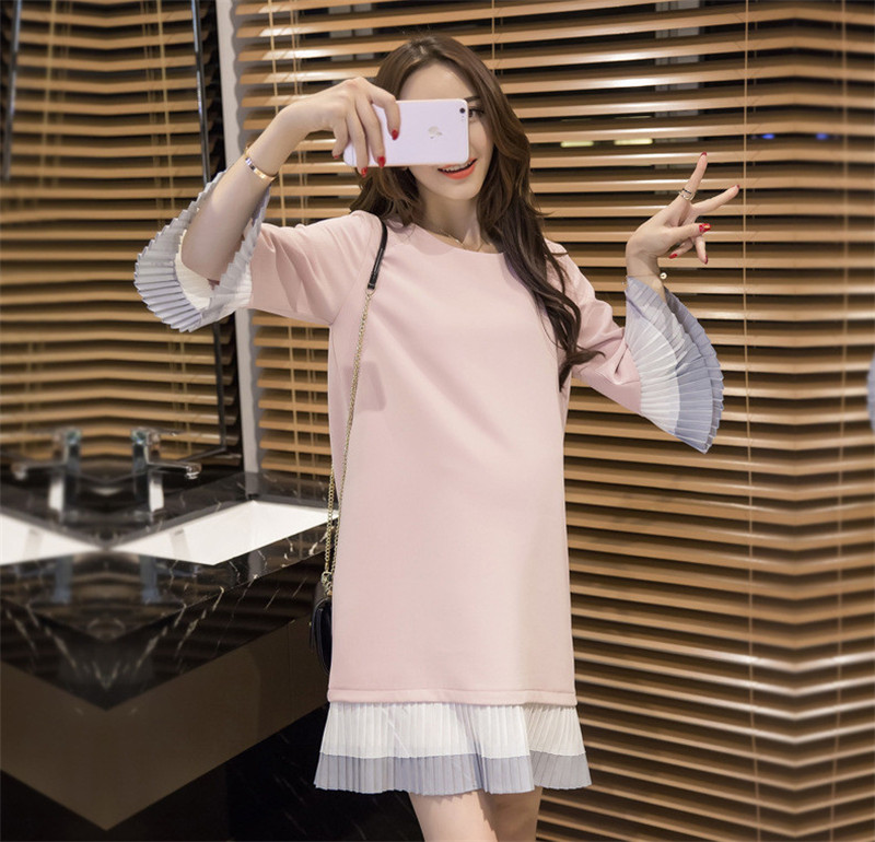 Maternity Dresses Pregnant Dress Fashion 2017 Cotton Pregnant Ruffles Long-sleeve Nursing Clothes One-piece Dress for Party