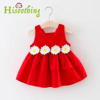 Baby Girls Clothing summer New Waist Flower Sling Princess Dress Baby Girls Dress Infant Clothes Kids Clothing Green yellow red