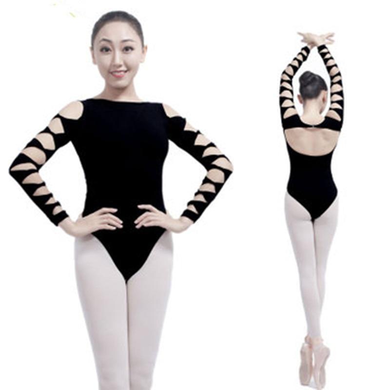 12d68d2b6c60e Adult Gymnastics Leotard Black Cotton Dance Leotards Long Sleeve Ballet for  Women Backless Spandex Dancewear Practice