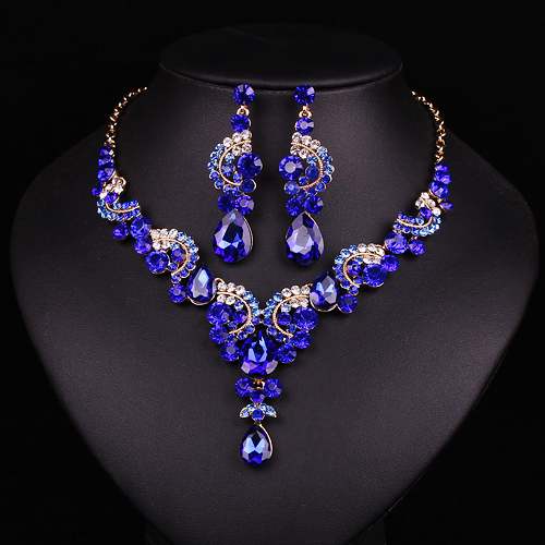 Jewelry Sets: New fashion wedding Blue Sapphire rhinestone jewelry set brides bridesmaid or prom party gold plated necklace earring set women