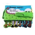 Livro de pano do bebê crianças educacionais toys tecido macio pés crocodile inglês ensino estéreo brinquedo livro do bebê tranquilo... byc081 pt49