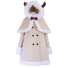 Women Christmas Coat Japanese Long Wool Blends Antlers Hoode