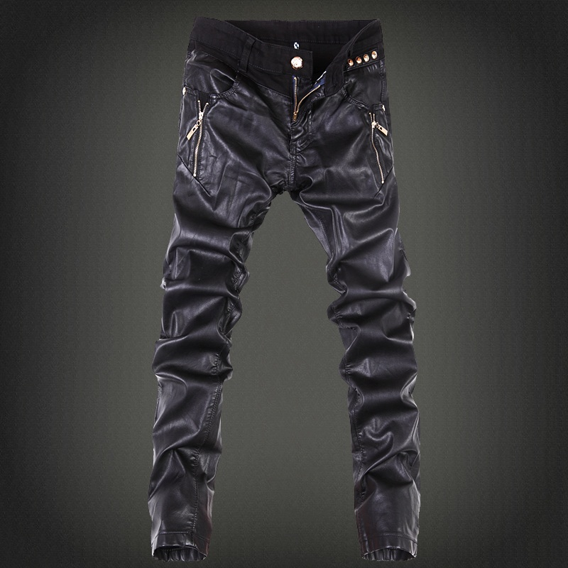 2017 mens skinny jeans overalls motorcycle jeans men pu leather pants patchwork denim biker jeans leather joggers size 28-36