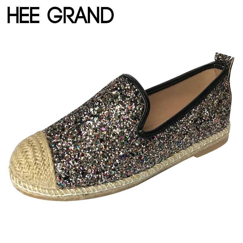 HEE GRAND Glitter Fisherman Shoes Woman 2017 Platform Loafers Casual Women Shoes Slip On Flats Straw Comfort Creepers XWD5769 lanshulan bling glitters slippers 2017 summer flip flops shoes woman creepers platform slip on flats casual wedges gold
