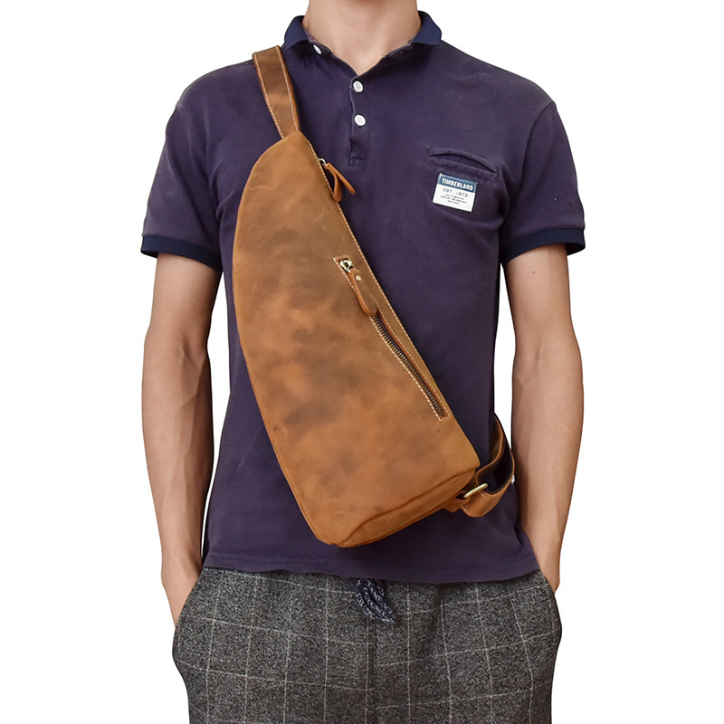 High Quality Men Genuine Leather Cowhide Vintage Sling Chest Back Day Pack Travel Casual Cross Body Messenger Shoulder Bag men high quality oil wax genuine leather cowhide messenger shoulder cross body bag travel vintage sling chest back day pack