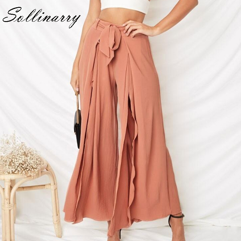 Sollinarry High Split Sexy Long   wide     Leg     Pants   Women Summer Beach Casual Female Sash Belt Loose Trousers Capris Chic streetwear