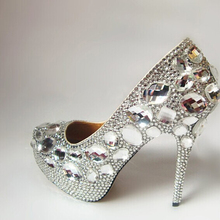 Unique Silver Rhinestone Wedding Shoes Round Toe High Heeled Bridal Shoes Waterproof Woman Party Prom Shoes Lady Club Shoes