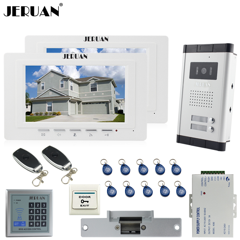JERUAN Apartment 2 Doorbell Intercom 7`` TFT Video Door Phone Intercom System kit 2 Monitor 1 HD Camera RFID Access Controller my apartment