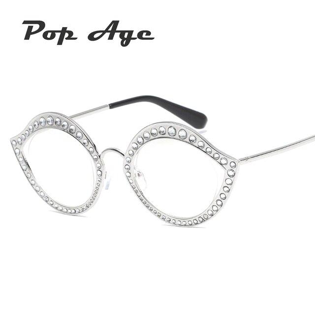 4ec74dad5e66 PAWXFB New Diamond Clear lens glasses Women Hollow Small Frames Glasses  Retro Plain glasses Metal Ladies