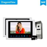 Dragonsview 7 Inch LCD Video Intercom Door Phone 960P AHD Ring Video Door Bell 2 Monitors 1 Panel Wide Angle Motion Recording
