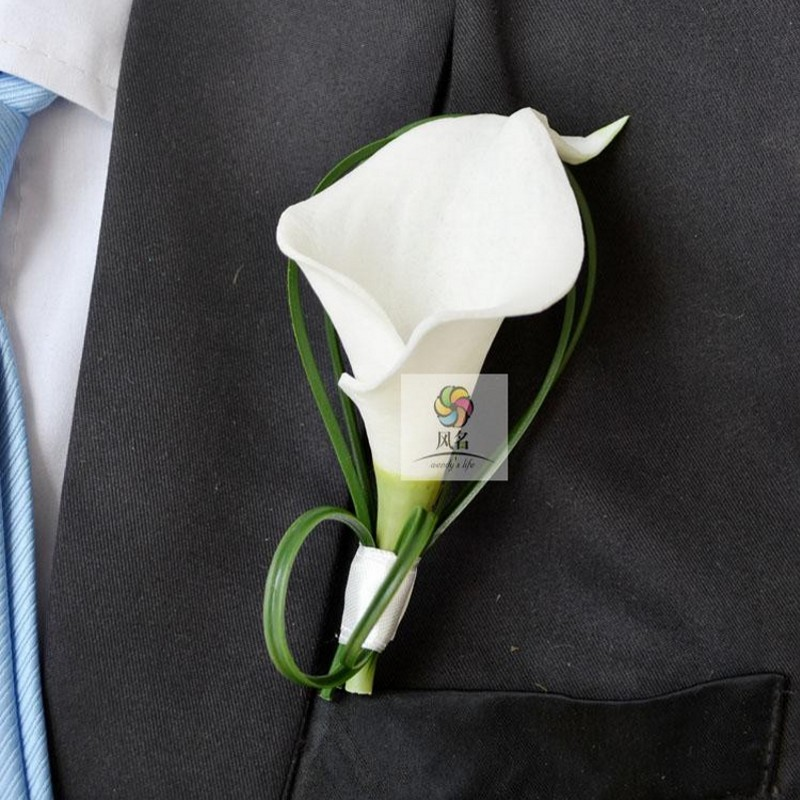 Hand Made White Calla Lily Flower Corsage Groom Groomsman Wedding Party Man Boutonniere Pin Brooch Decoration